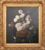 """LOUISE DE HEM, """"Stillleben mit Blumen"""", Öl auf Leinwand, Belgien 19. Jh.Das Bild ist im Stile"""