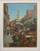 GUSTAV TAUSCHINSKY: MARKTPLATZ IN AALEN, Öl auf Maltuch, gerahmt und signiert,1975Gustav Tauschinsky