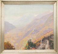 """JOSEF TSCHOLL: """"Burgruine in bergischer Landschaft"""", Öl auf Leinwand, gerahmt, signiert, 1. Hälfte"""