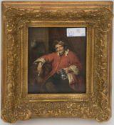 """UNBEKANNTER KÜNSTLER: """"Der alte Trinker"""", übermalter Druck nach Original von 1663, Öl auf Platte,"""