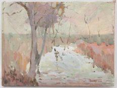 UNBEKANNTER KÜNSTLER: BEIM TEICH, Öl auf Leinwand, unsigniert, 20. JahrhundertMaße: 30 x 39 cm.Guter