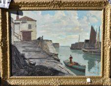 """CLAUS BERGEN: """"Junge Männer auf dem Wasser"""", Öl auf Leinwand, gerahmt, signiert, 1. Hälfte 20."""