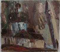 UNBEKANNTER KÜNSTLER: KIRCHE, Öl auf Leinwand, ungerahmt, 20. Jh.Maße: 50 x 56 cm. Unsigniert.