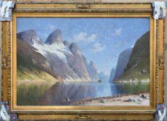 """ELISABETH GRÜTTEFIEN-KIEKEBUSCH:""""Der Bergsee"""", Öl auf Leinwand, gerahmt, signiert, 1. Hälfte 20."""