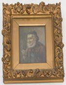 L.MALY, RAUCHENDER ALTER, Öl/Platte, 19./20. Jh.Hinter Glas gerahmt und in gutem Zustand.29 x 33