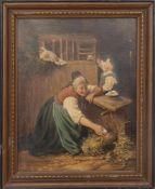 K. SOMMER: Im Hühnerstall, Öl auf Leinwand, gerahmt, signiert und datiert.Rechts unten signiert