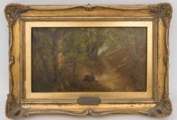 MIKOW, RASTENDER IM WALD, Öl/Platte, 19/20. Jh.28 x 18 cm m. R.20 x 11 cm o. R.