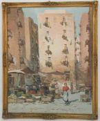 GIUSEPPE RISPOLI, MARKTSZENE, Acry/Platte, 20. Jh.Gerahmt und in gutem Zustand. 44 x 54 cm m. R.39 x