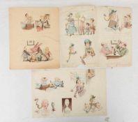 CARL FELIX VON SCHLICHTEGROLL, LUSTIGE BILDERBOGEN, Aquarellzeichnung/Papier, signiert, um 1885.Carl
