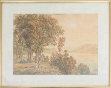 GABRIEL LORY, AM BEWALDETEN UFER, Aquarellzeichnung/Papier, hinter Glas.Gabriel Lory (1763-1840).