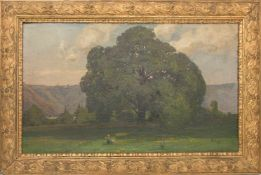 SOPHIE LEY, WIESE MIT BAUM, Öl/Leinwand, gerahmt, signiert.Sophie Ley (1849-1918). Rechts unten