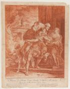 BERNHARD NEHER, JASON UND MEDEA, Rötelzeichnung/Notenpapier, hinter Glas, 1774.Nach Gemälde von