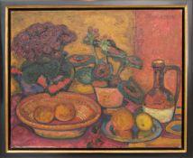 CESAR KLEIN, BLUMENSTILLLEBEN, Öl auf Leinwand.Stillleben im Stile Paul Cézannes von Cesar Klein (