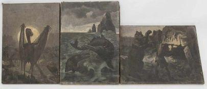 """DREI GEMÄLDE """"URZEITKREATUREN"""",Öl/Leinwand, ungerahmt, unsigniert.Grisaillemalerei. Rückseitig"""
