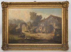 OTTO GOLDMANN, BAUERNSZENE, Öl/ Leinwand, 1871.Stärkere Firnisschicht, unten rechts signiert und