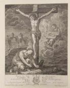 BARTHOLOMÄUS HÜBNER, GEDENKEN JESU, Kupferstich/Papier, 1783.Blattmaß: 42 x 52 cm.Altersflecken,