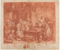 BERNHARD NEHER, BEIM LESEN DER BIBEL, Rötel/Notenpapier, hinter Glas, um 1760.Nach Gemälde von