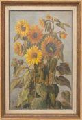 MONOGRAMMIST, Sonnenblumen, Öl/Platte, 19./20. JhDas Gemälde Sonnenblumen, Öl/Platte, 19./20. Jh.,