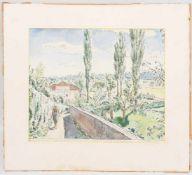 ALBERT HAUEISEN, Aquarellzeichnung/Karton.Albert Haueisen (1872-1954). Ungerahmt, hinter