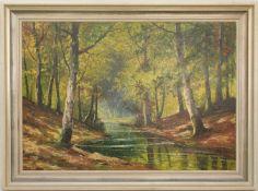 H. AICHMAYER, LAUBWALD MIT WASSER, Acryl/ Leinwand, 20. Jh.115 x 85 cm m. R. 98 x 69 cm o. R