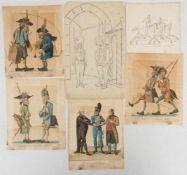 """KONVOLUT GRAFIK UND ZEICHNUNG """"SOLDATEN"""", auf Papier, teils koloriert.6 Darstellungen aus dem 18."""