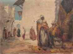 """HASSAN, LEBEN IN DER OASE, Öl auf Leinwand, ungerahmt, signiert.Rechts unten signiert """"Hassan"""".60"""