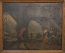 UNBEKANNTER MALER, BETTELVOLK, Öl auf Leinwand.Unsigniert.Maße mit Rahmen: 62 x 78 cm.Restauriert/