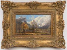 ADALBERT WAAGEN, Im Tal vor den Bergen, Öl/Karton, 19. JhAdalbert WAAGEN (1833-1898), Im Tal vor den