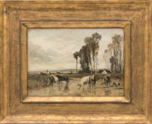 PHILIPP RÖTH, Landschaft nach Troyon 1896, Öl/Karton, 19. JhPhilipp Röth (1841 -1921).Unten rechts