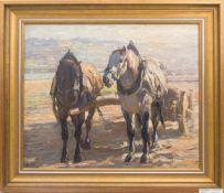 MONOGRAMIERT E.H. Das Pferdegespann, Öl/Platte, 20. JhUnten links signiert, gerahmt und in gutem