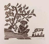 DETLEF WILLAND, Jona, 9 Holzschnitte, Deutschland, 20. Jh.In Original Mappe und in sehr gutem