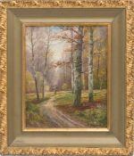 B.LAMBERT, Waldlandschaft im Herbst, Öl/Platte, 20. Jh.Unten rechts signiert, gerahmt und in gutem
