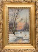 B.LAMBERT, Waldlandschaft im Winter, Öl/Platte, 20. Jh.Unten links signiert, gerahmt und in gutem