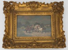 WILHELM VELTEN, Männer auf Pferden, Öl/Platte, 19./20. Jh.Wilhelm Velten (1847-1929). Hinter Glas