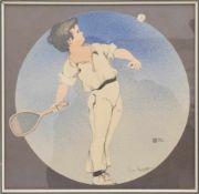 LEO RAUTH, Tennisspieler, Tusche auf Papier, Deutschland, 1908.Leo Rauth (1884-1913), Das Rund