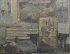 BERND DEHNE, Am Atelierfenster, Öl/Lw, Deutschland, 1969. JhUngerahmt, links mittig signiert und