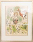 MARC CHAGALL, Odysseus mit Leier, Lithographie, 20. Jh.Hinter Glas im Passepartout gerahmt. Unten