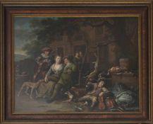 RICHARD BRAKENBURGH (Attrib.), Dörfliches Konzert nach der Jagd, Öl/Lw, 17. JhRichard BRAKENBURGH (