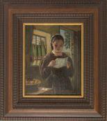 JULIA BECK, Briefleserin, Öl/Holz, 19. Jh.Gerahmt und in einem sehr guten Zustand. Provenienz aus