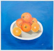 Sig. MURIEL, Orangen auf blauem Grund, Öl / LW, 1999.86 x 82 cm- - -20.00 % buyer's premium on the