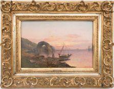 KARL KAUFMANN, Fischerboote im Abendrot, Öl/Holz, Deutschland, 19. JhKarl KAUFMANN (1843-1902/05).