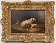 THEO VAN SLUY, Rastende Schafe, Öl/Holz, 19./20. JhTheo van Sluy (Eugéne Rémy Maes, 1849-1931)