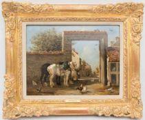 JULESJAQUES VEYRASSAT, Pferde und Hühner, Öl/Holz, Deutschland , 19. JhJULESJAQUES VEYRASSAT (1828-
