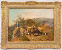 BÜHLER, Schafhirte, Öl/Lw, 20. JhGerahmt, unten rechts signiert und in gutem Zustand, Leinwand