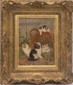 BENNO KÖGL, Vier Kätzchen versammelt um einen Weidenkorb, Öl/ Holz, 20. JhBenno KÖGL (1892-1973),