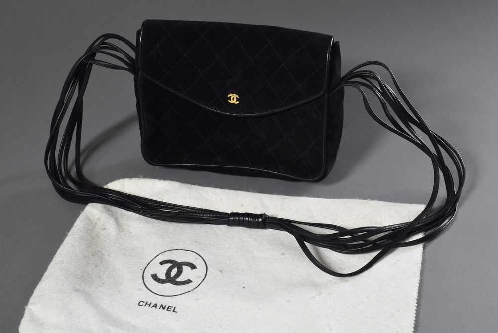 Lot 43 - Schwarze CHANEL Abendtasche aus gestepptem Wildleder mit 6fachem Schultergurt, 16x20cmBlack CHANEL