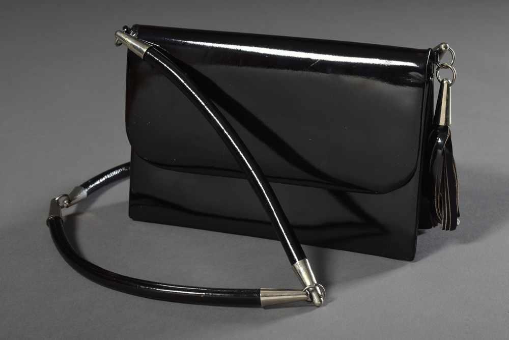 Lot 46 - Kleine DIOR Vintage Tasche, dunkelbraunes Lackleder mit seitlicher Quaste, 12,5x19cm,
