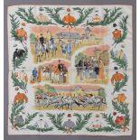 """Lot 11 - Hermès Carrée """"Courses a Chantilly"""", Entw.: Maurice de Taquoy 1952, 90x90cm, etwas fleckigHermès"""