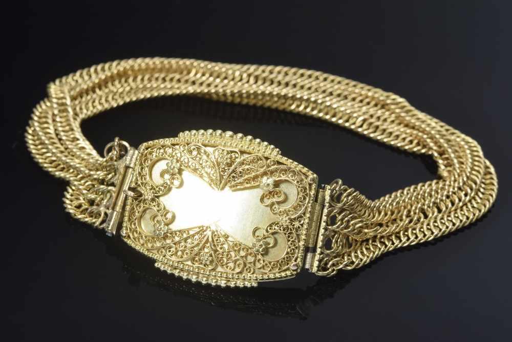 Lot 55 - GG 585 Armband, 4reihig, 22,7g, L. 18,5cmGG 585 bracelet, 4 rows, 22,7g, l. 18,5cm
