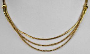 KETTE flaches, satiniertes Band, zur Schauseite mit drei übereinander angeordneten Bändern, die an